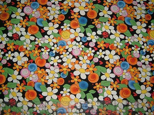 Avlyn Cute as a Bug Black Novelty Quilt Fabric