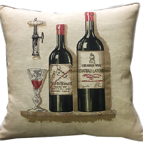 Wine Bottles Tapestry Cushion Cover