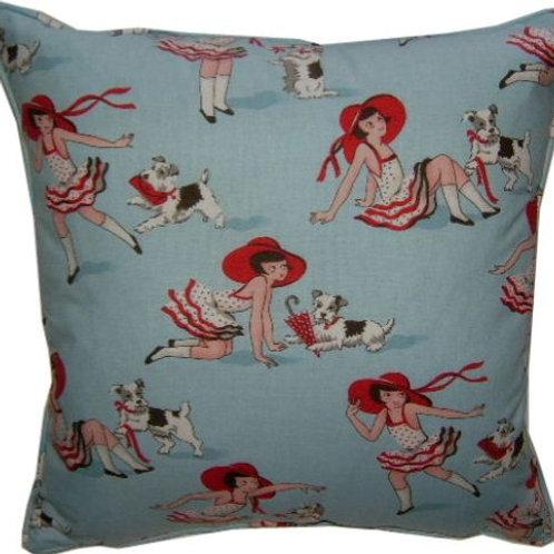 Jane Churchill 'Miss Millie' Blue Cotton Cushion Cover