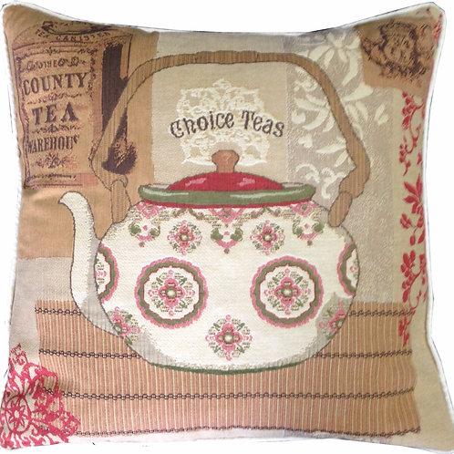 Choice Teas Floral Teapot Tapestry Cushion Cover