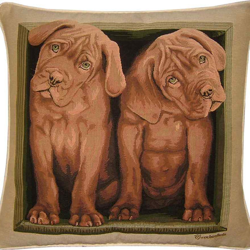 Dogue de Bordeaux Puppies Tapestry Cushion Cover