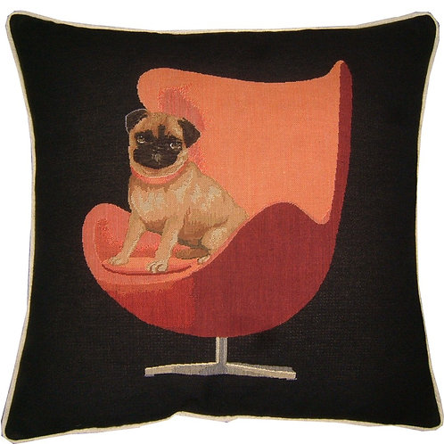 Pug on a Red Retro Chair Black Tapestry Cushion Cover