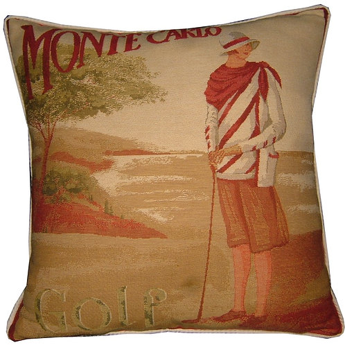 Monte Carlo Golf Lady Tapestry Cushion Cover