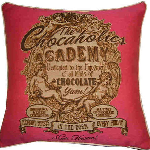Chocaholics Academy Pink Tapestry Cushion Cover