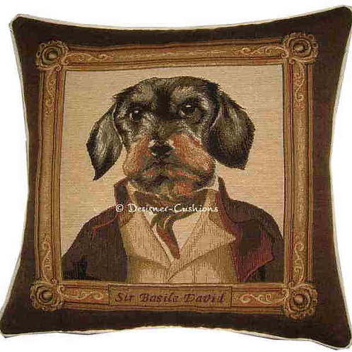 Thierry Poncelet Dachshund Framed Tapestry Cushion Cover