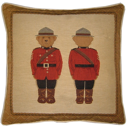 Canadian Mountie Teddy Bear Tapestry Cushion Cover