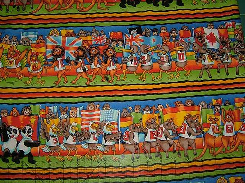 Nutex Novelty The Games Animals Sports Border Stripe Col 3 Novelty Quilt Fabric