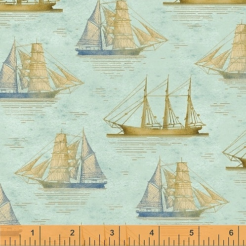 Windham Tall Ships Blue Sailing Ships 42268-2 Quilt Fabric