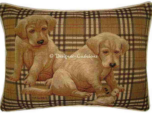Labrador Puppies Check Tapestry Oblong Cushion Cover