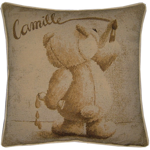 Camille Teddy Bear Tapestry Cushion Cover