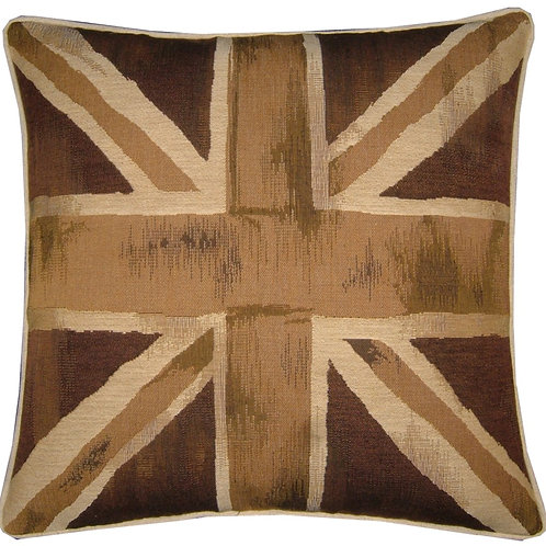 Union Jack Beige & Brown Flag Tapestry Cushion Cover