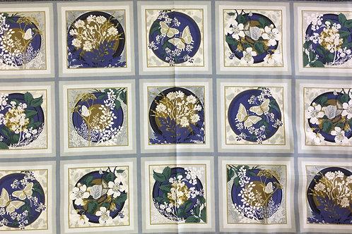 "Fabric Freedom ""Park Lane"" Blue Panel 60cm pattern repeat"