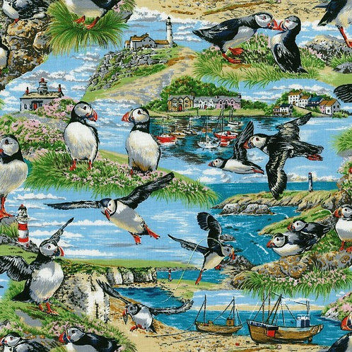 Nutex Seaside Puffins Sea Birds 11030 Quilt Fabric