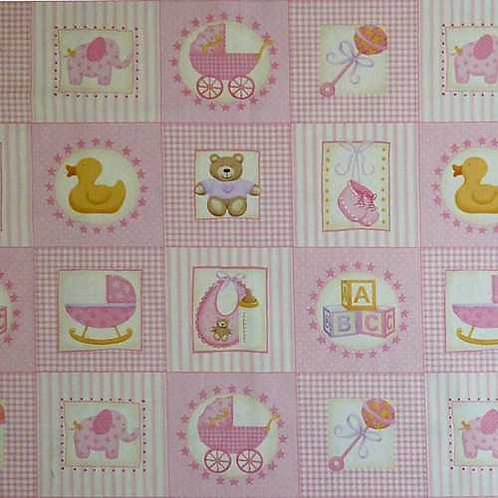 Makower Baby Girl Pink Card Making Quilt Fabric