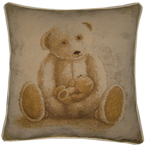 Teddy & Baby Bear Tapestry Cushion Cover
