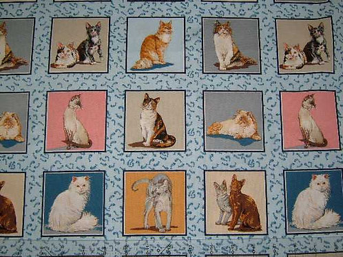 Nutex Novelty Cats Corner Card Making Squares Quilt Fabric 30cm / 12""