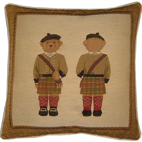 Scottish Teddy Bear Tapestry Cushion Cover