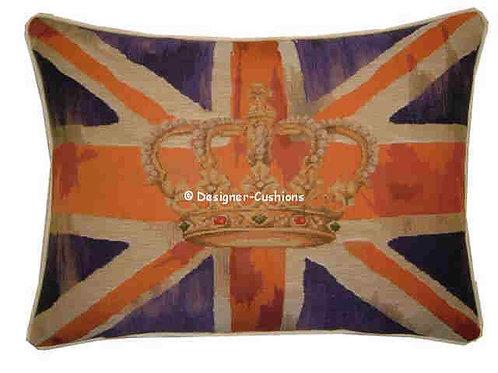 Union Jack Purple Design #1 Flag Tapestry Oblong Cushion Cover