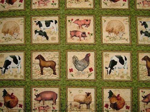 Makower Farmyard Design No 2 Card Making Squares Quilt Fabric