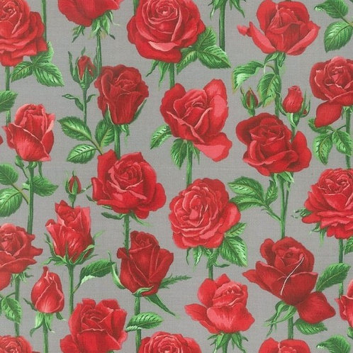 Nutex Kiwiana Roses are Red  Grey Quilt Fabric 88950 Col6