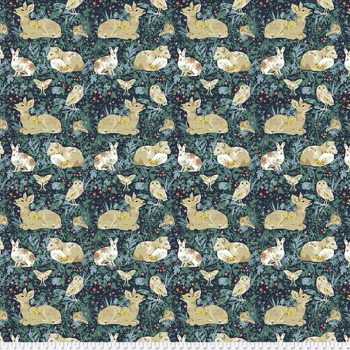 Odile Bailloeul Land Art Mini Enchanted Forest Navy PWOB025.NAVY Quilt Fabric
