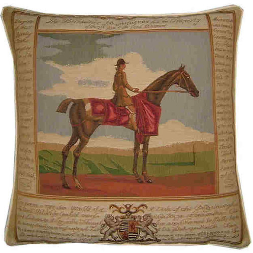 Old Fashioned Horse & Jockey Facing Right Tapestry Cushion Cover