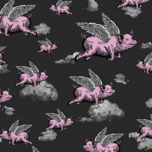 Nutex Novelty When Pigs Fly Quilt Fabric