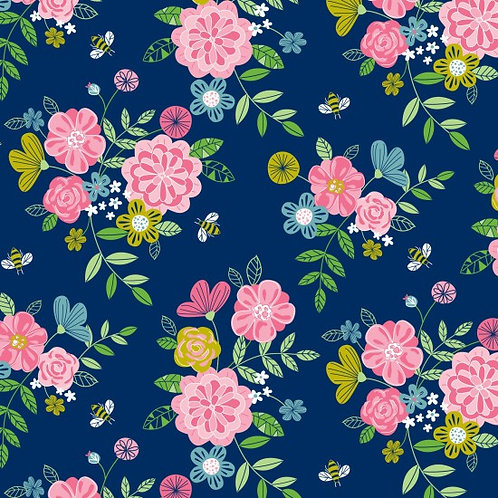 Nutex Novelty Wildflower Honey Blue Floral 80270 Col1 Quilt Fabric