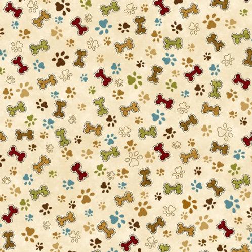 Henry Glass Pet Rescue Paws & Bones Cream HG8483-44 Quilt Fabric
