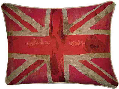 Union Jack Pink Design #3 Flag Tapestry Oblong Cushion Cover