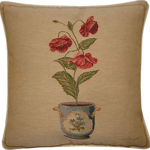 Poppies in a Pot Tapestry Cushion Cover