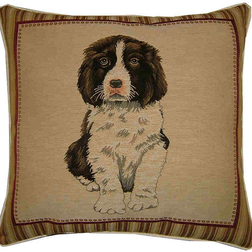 Spaniel Puppy in Frame Tapestry Cushion Cover