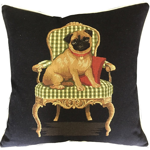 Pug on a Green Chair Tapestry Cushion Cover