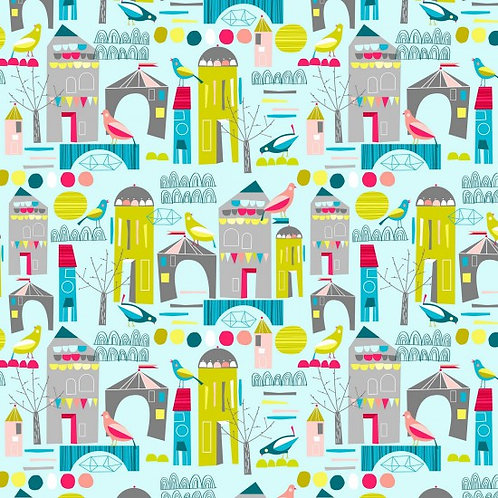 Nutex Neighbourhood Houses 89890 Col 2 Quilt Fabric