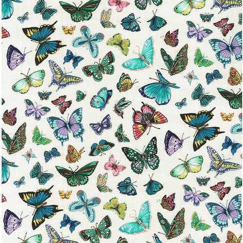 Nutex Vibrant Flight Ivory Butterfly Quilt Fabric 89900 Col2