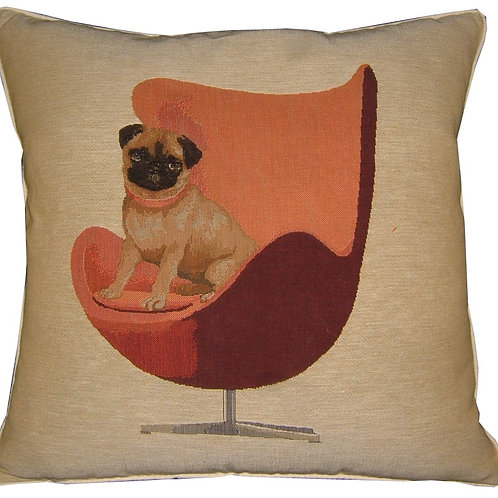 Pug on a Red Retro Chair Cream Tapestry Cushion Cover