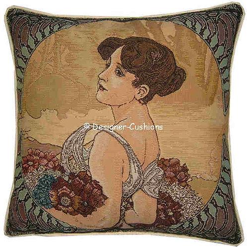 Alphonse Mucha Summer Tapestry Cushion Cover