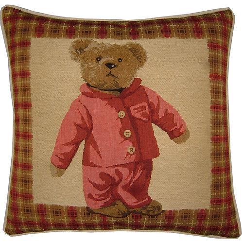 Red Teddy Bear Pyjamas Tapestry Cushion Cover