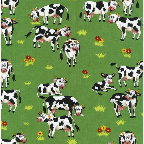 Nutex Novelty Farm Fun Cows 80500 Col3 Quilt Fabric