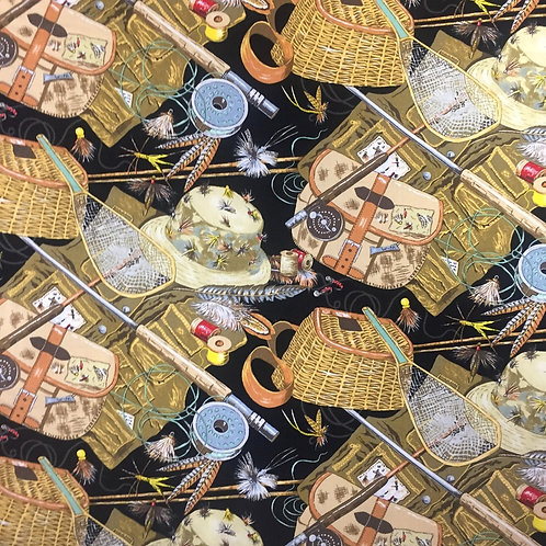 Nutex Trout Fishing Equipment Quilt Fabric