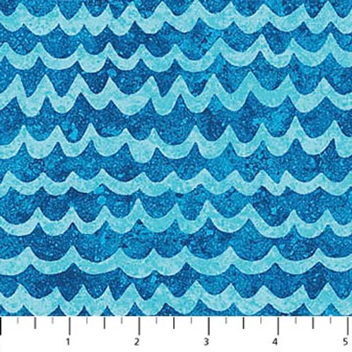 Northcott Kids Undersea 3D Blue Waves 39412-44 Quilt Fabric