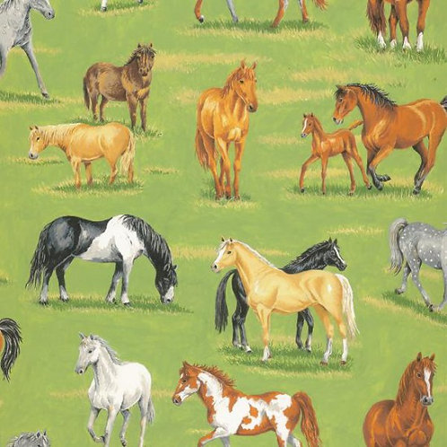 Nutex In The Country Farmyard Horses & Foals Novelty Quilt Fabric