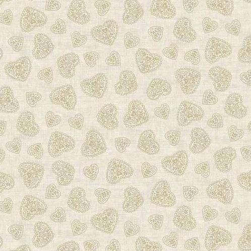 Makower Skandi 4 Cream Hearts Quilt Fabric