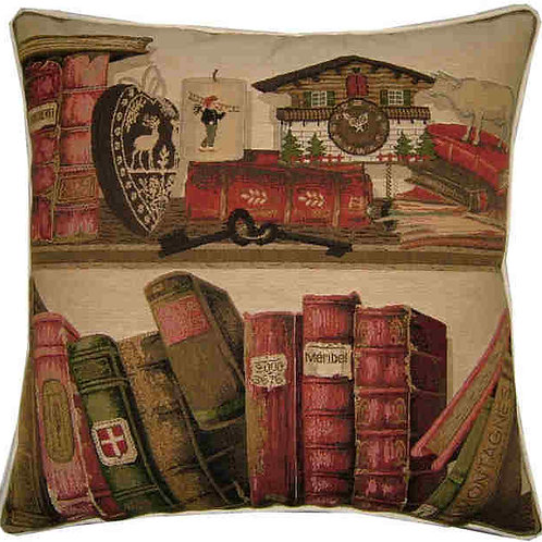 Library Books Swiss Clock & Keys Tapestry Cushion Cover