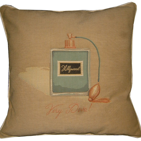 Glamour Perfume Bottle Hollywood Very Diva Blue Tapestry Cushion Cover