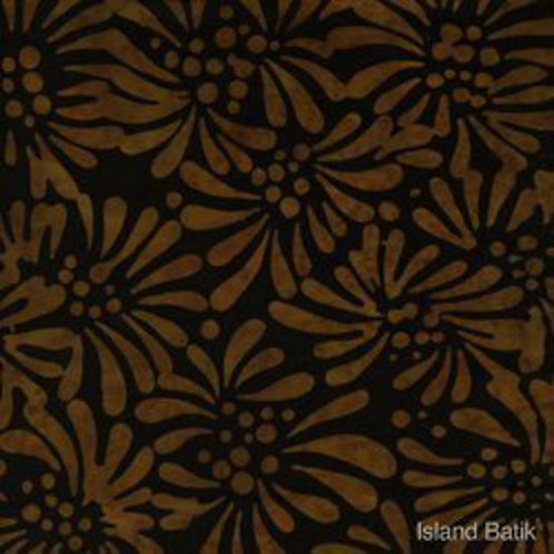Island Batiks K105-I1 Brown / Black Floral Quilt Fabric