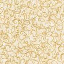 Robert Kaufman Winters Grandeur Ivory SRKM-16583-15 Metallic Quilt Fabric