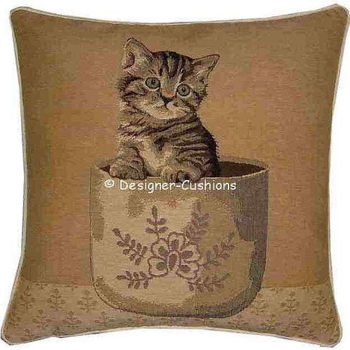 Tabby Kitten in Vase Tapestry Cushion Cover