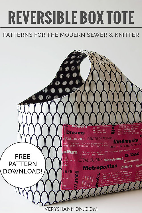 Reversible Box Tote Bag Pattern Free Download pdf