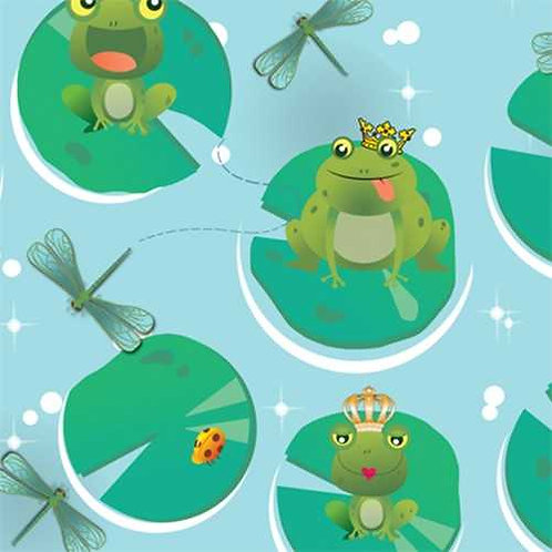 Avlyn Before the Kiss Frogs on Lillypads Quilt Fabric